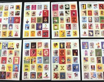 Czech Vintage Cartoon Style Postage Stamp Sticker Set of 320 stickers - Volume 1 - in Plastic Envelope Packet