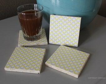 Geometric Coasters - Modern Coasters - Travertine Coasters - Optical Illusion - Geometric Decor - Gifts Under 20 - Housewarming Gift