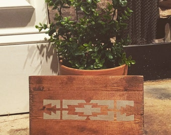 Hand painted wood sign with aztec design