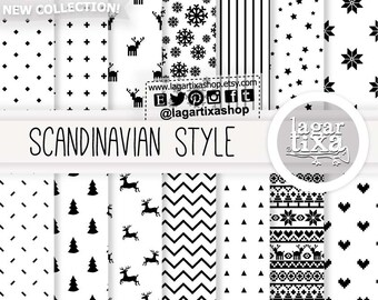 Black White Scandinavian Nordic Christmas, Digital paper, Patterns, snow flurry, tree, deers, hearts, ugly sweater, minimalist backgrounds