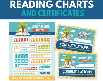 2016 LDS Primary I Know The Scriptures Are True Book of Mormon Reading Chart