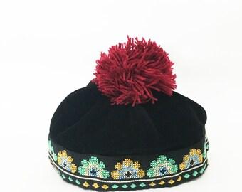 Children Accessories Kids Hmong Hat Black Velvet With Cross Stitch Strips