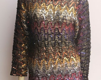 80's Vintage Sheer Sequined Long Sleeve Boat Neck Top