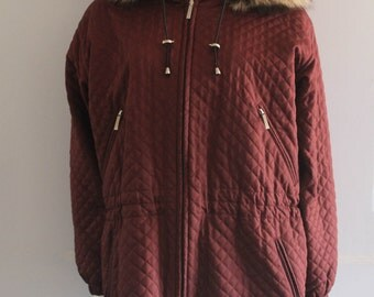 90's Vintage Burberry Burgundy Quilted Parka w/ Fox Fur Hood