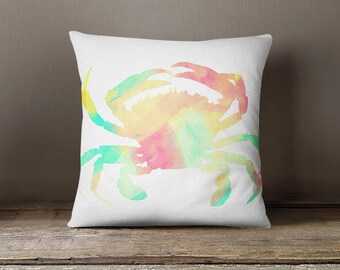 Crab Throw Pillow Cover Beach Decor Coastal Decor Crab Art Home Decor Gifts for Beach lover Couch Cushion Cover Decorative Pillow Cover