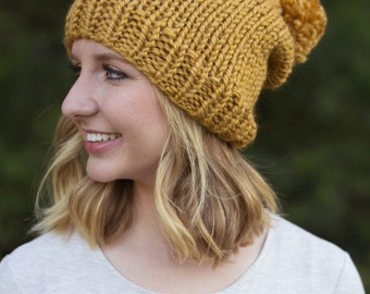hand knitted pom pom beanie || mustard || choose your color