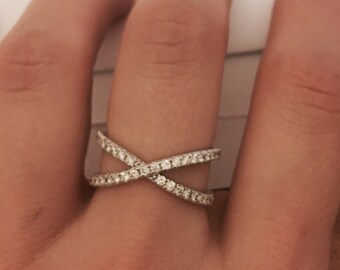 X Ring  - Gold Cross Over Ring - Sterling Criss Cross Ring - Twisted Ring -  Criss Cross Ring - Thin Silver Ring - Christmas Gift