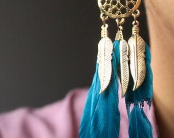 Dreamcatcher Feather Earrings/Drop Earrings/Feather Drop Earrings/Boho Feather Earrings/Long Feather Earrings