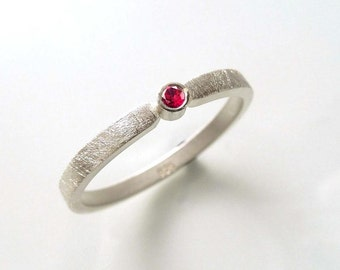 Silver ring with ruby, engagement ring, Stacking ring, Stackable ring, goldsmith - handmade by SILVERLOUNGE