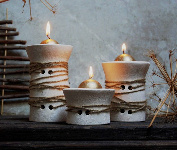 Three white ceramic candle holder. Handmade. Nordic design. Shabby chic. Ethno chic. Rustic Christmas decoration. Centerpiece. Single piece