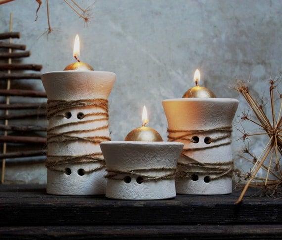 Three white ceramic candle holder. Handmade. Nordic design. Shabby chic. Ethno chic. Rustic Christmas decoration. Centerpiece. Single piece