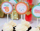 Kitten & Puppy Birthday Party - Printable Cupcake Toppers / Stickers / Tags - Digital File