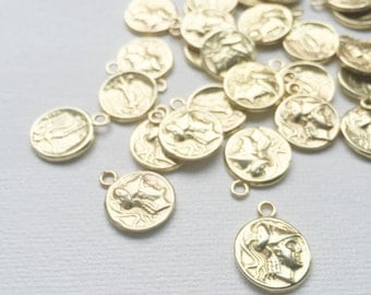 Vintage Roman Gold Coin Warrior Angel Charms Pendant - PA1038