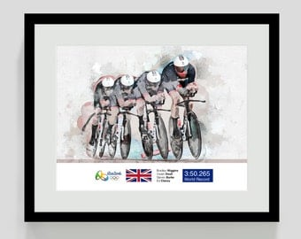 Olympics 2016 Print - Cycling Team Pursuit - Bradley Wiggins, Ed Clancy, Owain Doull, Steven Burke.