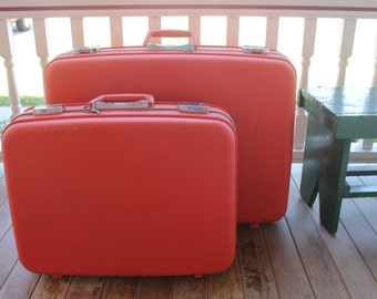 Oshkosh Luggage, Hard Shell, Vintage, Red, Hard, Suitcase, Two sizes, With Key