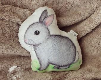 Bunny pillow. Woodland nursery decor. Woodland animal pillow. Bunny nursery decor. Gift for baby shower. Cute kids room decor. Gift for kids