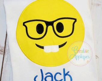 Emoji Nerd Glasses Machine Embroidery Applique Design 4 Sizes, geek emoji, emoji glasses, smart emoji applique design