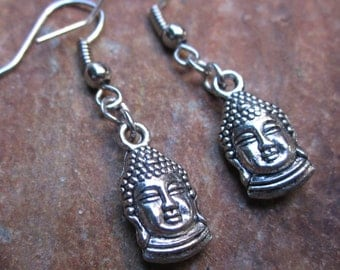 buddha earrings simple silver earrings  hippie earrings earrings boho earrings zen yoga earrings black earrings dangle drop earrings
