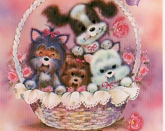 Vintage postcard  80s Puppies in a basket