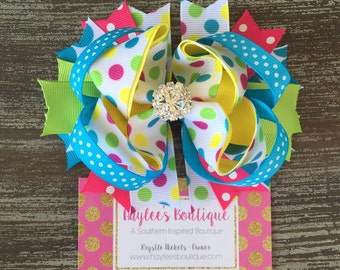 Birthday Hair Bow - Spring Hair Bow - Colorful Hair Bow - Pink - Blue - Green - Yellow - Over the Top Bow - Boutique - Stacked Hair Bow