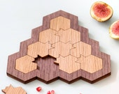 Challenging puzzle , Pomegranate and honeycomb, Modern Judaica oak and walnut veneers, Judaica hand made in Israel