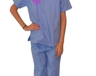 Monogrammed Kids Scrubs for little Doctors and Nurses