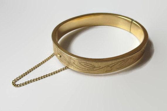 Vintage Krementz Bracelet 14kt Gold Overlay Hinged Bangle