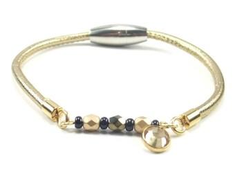 Gold Beaded Leather Bracelet, Womens Beaded Jewelry, Gold Leather Bracelet, Womens Leather Jewelry, Swarovski Charm, Gold Bracelet