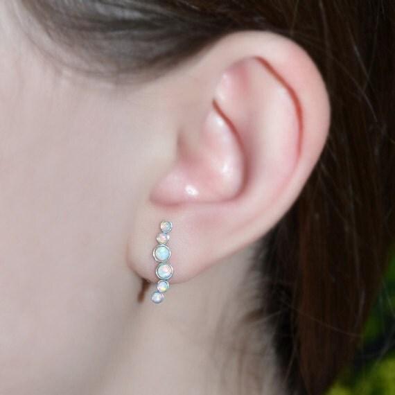 Silver Stud Earrings - Bar 2mm and 3mm Opal Post Earrings - Ear Lobe Jewelry - Cartilage Earring - 20 Gauge Helix Piercing - Conch Earring