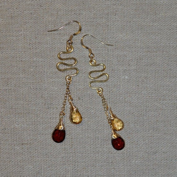 Gold Golden Citrine, Red Garnet Drop Earings - Long Dangle Drop Earrings - Citrine, Garnet Earrings - Gold Stud Earrings - Post Earrings