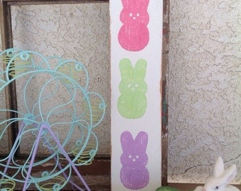 PEEPS - Easter Hand Painted Wooden Sign Home Decor