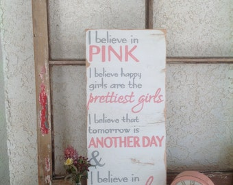 I Believe In Pink - Audrey Hepburn Hand Painted Wooden Sign in white, gray and pink - Home Decor