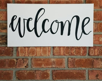 Modern calligraphy welcome sign