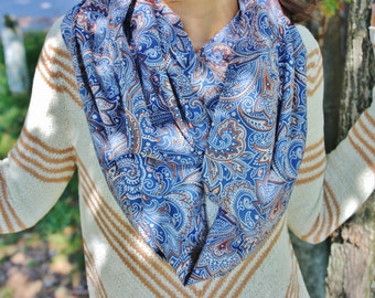 Blue Cappuccino Paisley Infinity Scarf, Women's Boho Fashion Loop Scarf Brown Orange Floral