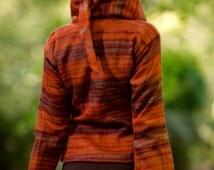 Kashmiri Pixie Hood Sweater (Mostly Orange) - Jacket Hoodie Pixie Hood Festival Boho Jumper Gypsy Hippie Jacket Kashmiri Sweatshirt