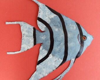 Angelfish Metal Sculpture - Tropical Fish, Wall Art, Fish Art, Beach Decor, Beach Art