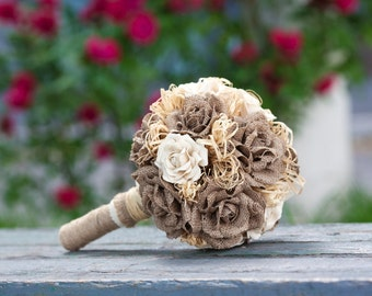 Burlap Wedding, Alternative Bouquet, Rustic Bouquet, Handmade Bouquet, Wedding Bouquet, Burlap Bouquet, Bridal Bouquet, Keepsake Bouquet