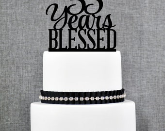 55 Years Blessed Cake Topper, Classy 55th Birthday Cake Topper, 50th Anniversary Cake Topper- (T260-55)