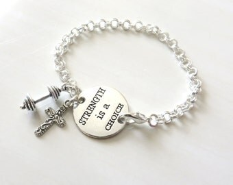 Strength is a Choice Workout Religious Charm Bracelet Barbell Cross Christianity YOU Choose Bracelet Length