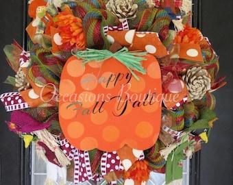 Fall Wreath, Autumn Wreath, Pumpkin, Door Hanger, Front door wreath, Wreath for door, Outdoor wreaths