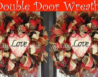 Double door wreaths, Valentine's Wreath, Valentine decoration, Front door wreaths, Made to Order
