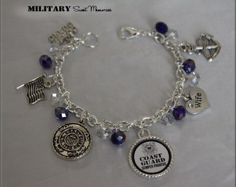 Coast Guard Wife Blue and White Crystal Bracelet, Proud Coast Guard Wife, Coastie Wife, I love my Coastie, Proud Coastie Wife