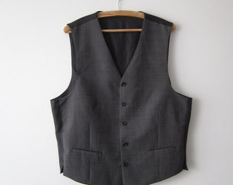 Extra Large Grey Mens Vest  Classic Fitted Waistcoat Steampunk Gentlemen's Edwardian Victorian