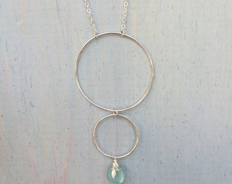 Sphere Sterling Silver Necklace with Aqua Chalcedony