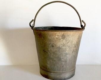 French Antique Metal Bucket - Amazing Patina - Rustic Garden Bucket - Galvanized Metal Farm Bucket -French Zinc Bucket - Old Garden Pail