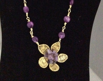Amethyst and sugilite wire work necklace