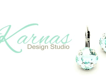 LIGHT AZORE 12mm Crystal Cushion Cut Drop Earrings Made With Swarovski Elements *Pick Your Finish *Karnas Design Studio *Free Shipping*