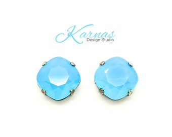 AQUA OPAL DOUBLET 12mm Stud or Post Earrings Cushion Cut Stones *Pick Your Finish *Karnas Design Studio *Free Shipping