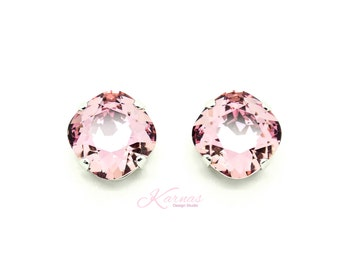 CRYSTAL ANTIQUE PINK 12mm Cushion Cut Stud Earrings Made With Swarovski Elements *Pick Your Finish *Karnas Design Studio *Free Shipping