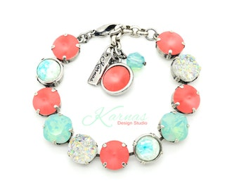 PEARLESCENT CORAL 12mm Crystal Mixed Media Bracelet Made With Swarovski Elements *Pick Your Finish *Karnas Design Studio *Free Shipping
